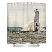 A Big Wave Crashes Into The Frankfort Light Shower Curtain