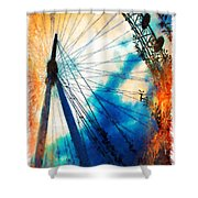 A Big Wheel Roller Coaster Ride Under A Sunset Shower Curtain