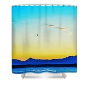 A Bird In The Sky At Sunset Shower Curtain