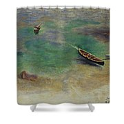 A Boat In The Waters Off Capri Shower Curtain