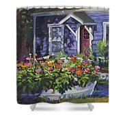 A Boat Load Of Zinnias Shower Curtain