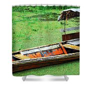 A Boat On Amazon Green Water Shower Curtain
