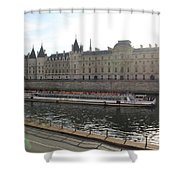 A Boat On The River Seine Shower Curtain