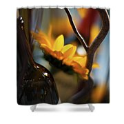 A Bottle And Sunflowers Shower Curtain