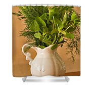 A Bouquet Of Fresh Herbs In A Tiny Jug Shower Curtain