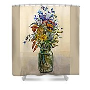 A Bouquet Of Wild Flowers In A Glass Jar. Shower Curtain