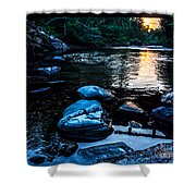 A Browns River Sunset Shower Curtain