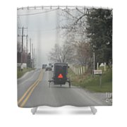 A Buggy Travels Down A Road In Spring Shower Curtain