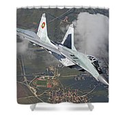 A Bulgarian Air Force Mig-29 In Flight Shower Curtain