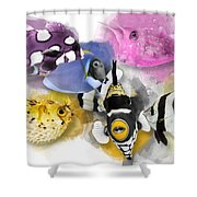 A Bunch Of Colorful Fish No 01 Shower Curtain