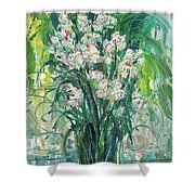 A Bunch Of Orchid Paintings Shower Curtain