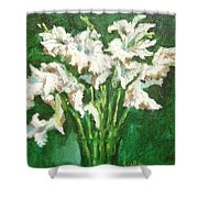 A Bunch Of White Gladioli Shower Curtain