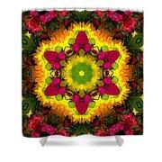A Burst Of Flowers Kaleidoscope Shower Curtain