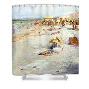 A Busy Beach In Summer Shower Curtain