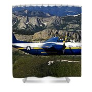 A C-130 Hercules Fat Albert Plane Flies Shower Curtain