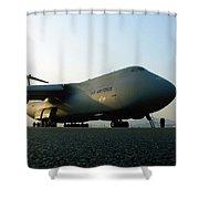 A C-5 Galaxy Sits On The Flightline Shower Curtain