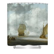A Calm Sea With A Man Of War And A Fishing Boat Shower Curtain