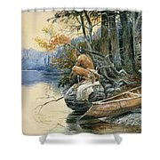 A Camp Site By The Lake Shower Curtain