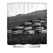 A Camper Settlement Shower Curtain
