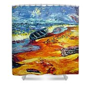 A Canoe At The Beach Shower Curtain