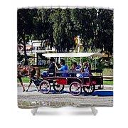 A Carriage Ride Through The Streets Of Katakolon Greece Shower Curtain