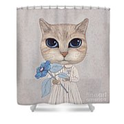 A Cat With A Blue Flower Shower Curtain