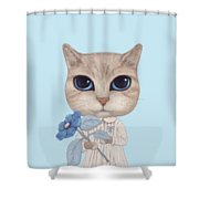 A Cat With A Blue Flower On White Shower Curtain