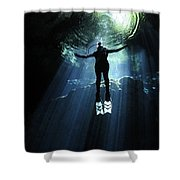 A Cavern Diver Ascends In The Cenote Shower Curtain by Karen Doody