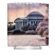 A Cherry Blossom Dawn Shower Curtain by Lois Bryan
