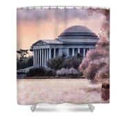 A Cherry Blossom Dawn Shower Curtain