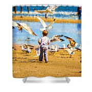 A Child At The Beach Isle Of Palms Sc Shower Curtain
