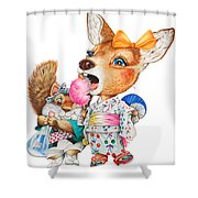 A Child Deer And Squirrel At The Summer Festival Shower Curtain