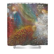 A Child Is Born Shower Curtain