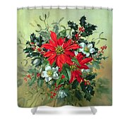 A Christmas Arrangement With Holly Mistletoe And Other Winter Flowers Shower Curtain