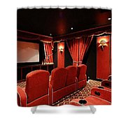 A Classy Home Theater Set Up Shower Curtain
