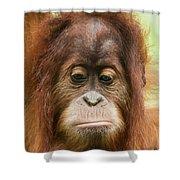 A Close Portrait Of A Sad Young Orangutan Shower Curtain
