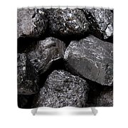 A Close View Of Coal Ready For Burning Shower Curtain