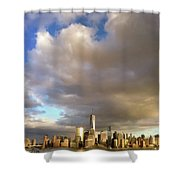 A Cloudscape And Its Cityscape Shower Curtain