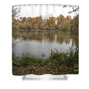A Cloudy Day On The Pond Shower Curtain