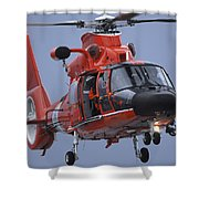 A Coast Guard Mh-65 Dolphin Helicopter Shower Curtain by Stocktrek Images