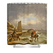 A Coastal Landscape Of The Isle Of Wight With Figures On Horse Back Near A Cottage Shower Curtain