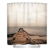 A Cold Compo Beach  Shower Curtain
