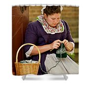 A Colonial Lady Knits Shower Curtain