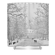 A Colonial White Winter Shower Curtain