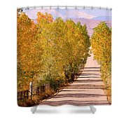 A Colorful Country Road Rocky Mountain Autumn View  Shower Curtain