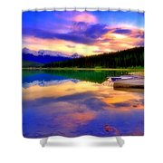 A  Colourful Evening At Lake Patricia Shower Curtain