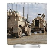 A Convoy Of Mrap Vehicles Near Camp Shower Curtain