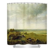 A Corn Field Shower Curtain by Peter de Wint