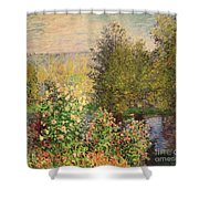 A Corner Of The Garden At Montgeron Shower Curtain by Claude Monet