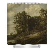 A Cottage Among Trees On The Bank Of A Stream Shower Curtain